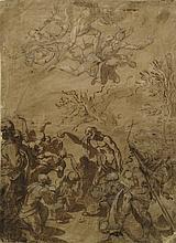 Bolognese School, 17th century- St. John baptising