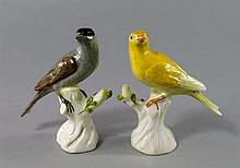 A pair of Continental porcelain models of birds, 1