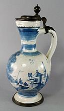 A Dutch delft and pewter mounted ewer, late 17th c