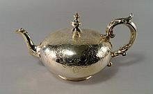 A Victorian silver teapot, London c.1847, John Ang