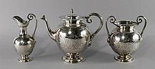 A Victorian silver Egyptian Revival tea service, L