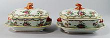 A pair of Chinese export porcelain tureens, covers