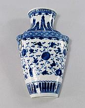 A Chinese porcelain vase shaped wall pocket, early
