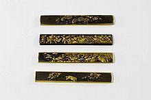 Four shakudo knife handles, kozuka, Goto School, E