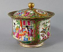 A Chinese canton porcelain circular box and cover,