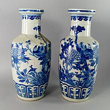 A pair of Chinese porcelain rouleau vases, 19th ce