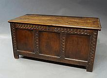 An oak chest, late 17th/early 18th century, of rec
