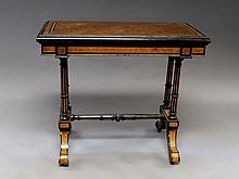 A Victorian ebony, amboyna and gilt metal mounted