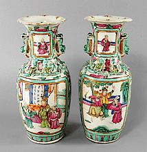 A pair of Chinese Canton porcelain baluster vases,