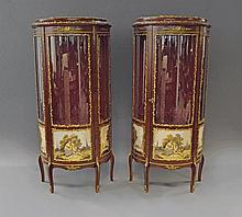 A pair of Vernis Martin style glazed vitrines, in