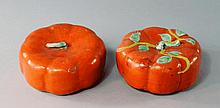 A pair of Chinese porcelain pumpkins, early 19th c