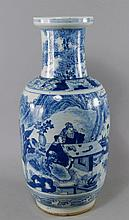 A Chinese porcelain rouleau vase, 19th century, pa