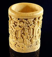 A Chinese ivory bitong, 18th century, finely carve