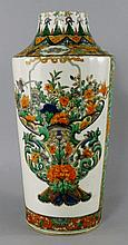 A Chinese porcelain famille verte cylindrical vase