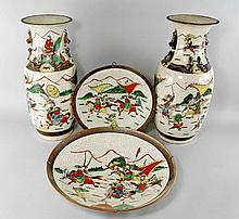 Five piece of Chinese crackle glazed porcelain, ea