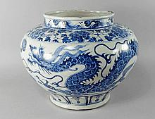 A Chinese blue and white porcelain vase, in the Mi