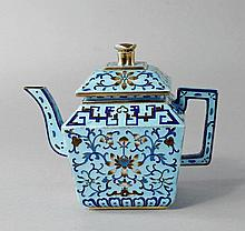 A Chinese cloisonne silver teapot, late 20th centu