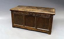 An oak rectangular carved coffer, late 17th/early