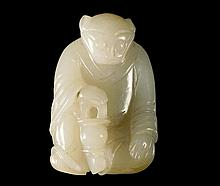 A Chinese pale green jade carved Zodiac figure, ea