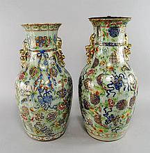 A pair of Chinese Canton baluster vases, 19th cent
