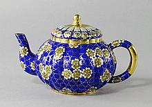 A Chinese silver cloisonne teapot, late 20th centu