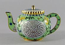 A Chinese silver gilt cloisonne teapot, late 20th