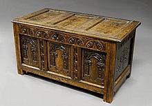 An oak panelled coffer, late 17th/early 18th centu