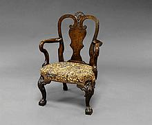 A George II style mahogany child's arm chair, 19th