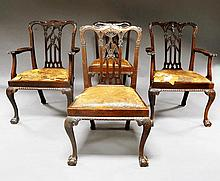 A set of six mahogany George III Chippendale style