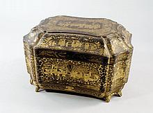 A Chinese black lacquer tea caddy, late 19th centu