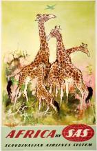 SAS - AFRICA - GIRAFFES ORIGINAL VINTAGE POSTER BY OTTO NIELSON C1955