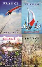 GROUP OF FOUR RHONE ALPES FRENCH ORIGINAL VINTAGE TRAVEL POSTERS BY MATHIEU C1995
