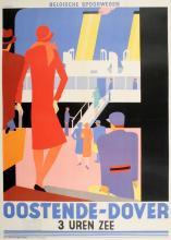 OOSTENDE - DOVER ORIGINAL RARE ART DECO TRAVEL POSTER BY MARFURT 1931 BELGIAN NATIONAL RAILWAY