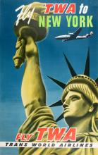 FLY TWA TO NEW YORK - STATUE OF LIBERTY ORIGINAL VINTAGE POSTER C1955