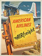 AMERICAN AIRLINES AIRFREIGHT ORIGINAL VINTAGE POSTER BY WEIMER PURSELL 1958