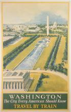 WASHINGTON D.C. TRAVEL BY TRAIN ORIGINAL VINTAGE RAILROAD POSTER 1934