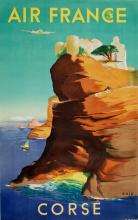 AIR FRANCE CORSE ORIGINAL VINTAGE TRAVEL POSTER BY ERIC 1949 CORSICA