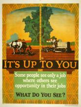 ORIGINAL VINTAGE 1927 MATHER WORK INCENTIVE POSTER - IT'S UP TO YOU - FARMERS FARMING