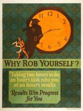 ORIGINAL VINTAGE 1927 MATHER WORK INCENTIVE POSTER -WHY ROB YOURSELF?