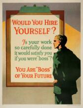ORIGINAL VINTAGE 1927 MATHER WORK INCENTIVE POSTER -WOULD YOU HIRE YOURSELF?