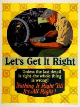 ORIGINAL VINTAGE 1927 MATHER WORK INCENTIVE POSTER -LET'S GET IT RIGHT