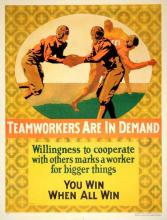 ORIGINAL VINTAGE 1927 MATHER WORK INCENTIVE POSTER -TEAMWORKERS ARE IN DEMAND