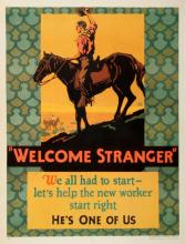 ORIGINAL VINTAGE 1927 MATHER WORK INCENTIVE POSTER -WELCOME STRANGER - HE'S ONE OF US