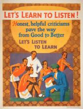 ORIGINAL VINTAGE 1927 MATHER WORK INCENTIVE POSTER -LET'S LEARN TO LISTEN