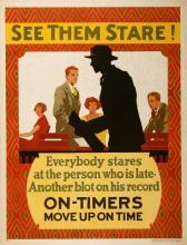 ORIGINAL VINTAGE 1927 MATHER WORK INCENTIVE POSTER -SEE THEM STARE - ON - TIMERS