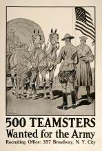 500 TEAMSTERS WANTED FOR THE ARMY ORIGINAL VINTAGE POSTER WORLD WAR I