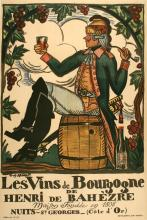 VINS DE BOURGOGNE ORIGINAL VINTAGE POSTER  FOR BURGUNDY WINES BY GUY ARNOUX