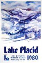 LAKE PLACID WINTER OLYMPICS 1980 - MOUNTAIN TEXT ORIGINAL VINTAGE POSTER
