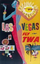 TWA - LAS VEGAS ORIGINAL VINTAGE POSTER BY DAVID KLEIN