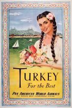 PAN AM - TURKEY FOR THE BEST ORIGINAL VINTAGE POSTER
